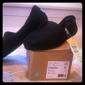 NEW Toms classic black burlap women's size 12